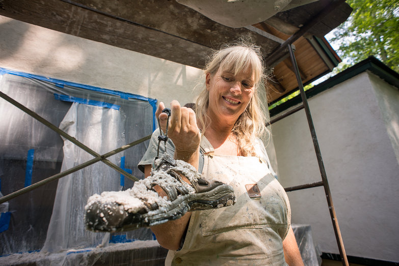 Liz with Plaster-Covered Shoe
