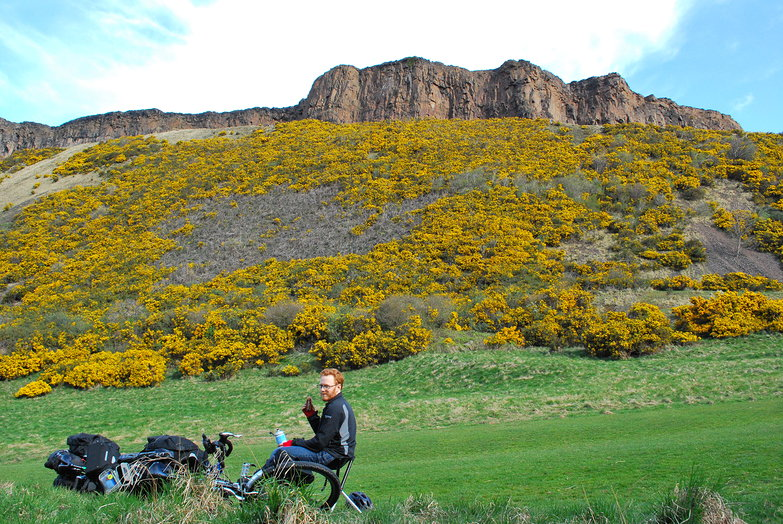 Tyler snacking near Arthur's Seat