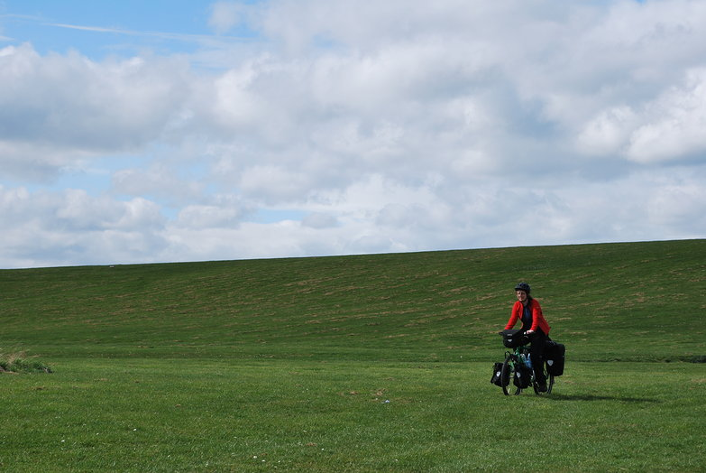 Tara Cycling in a Field