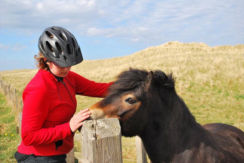 Tara petting a horse