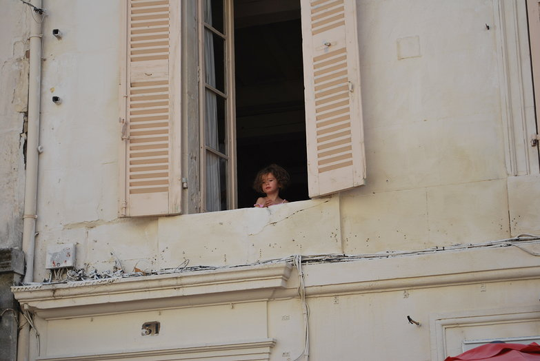 French Girl In Window