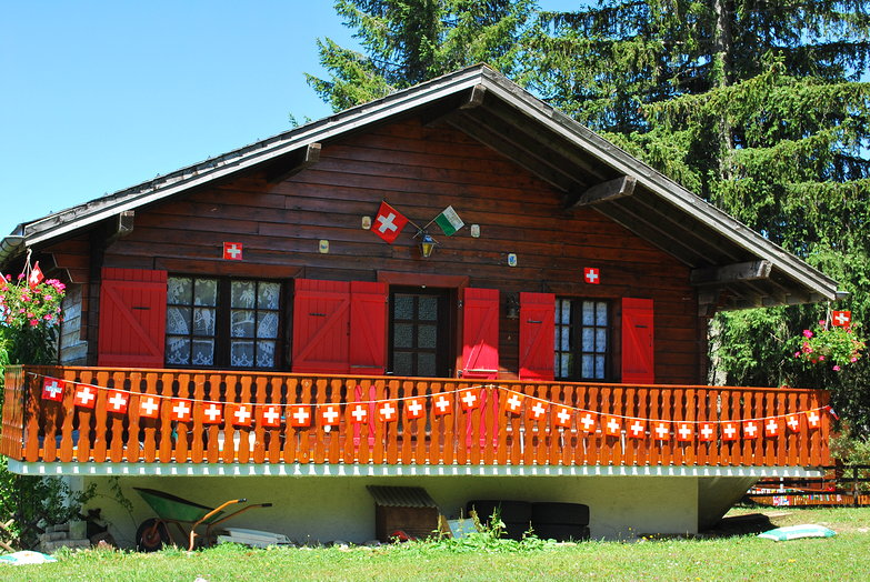 Chalet & Swiss Flags