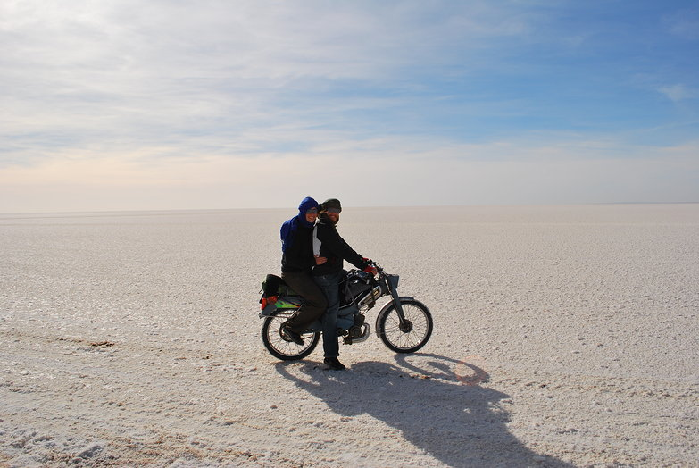 Us on Chott el Jerid Salt Flat (on Habib)