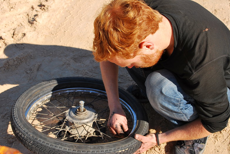 Tyler Repairing Flat