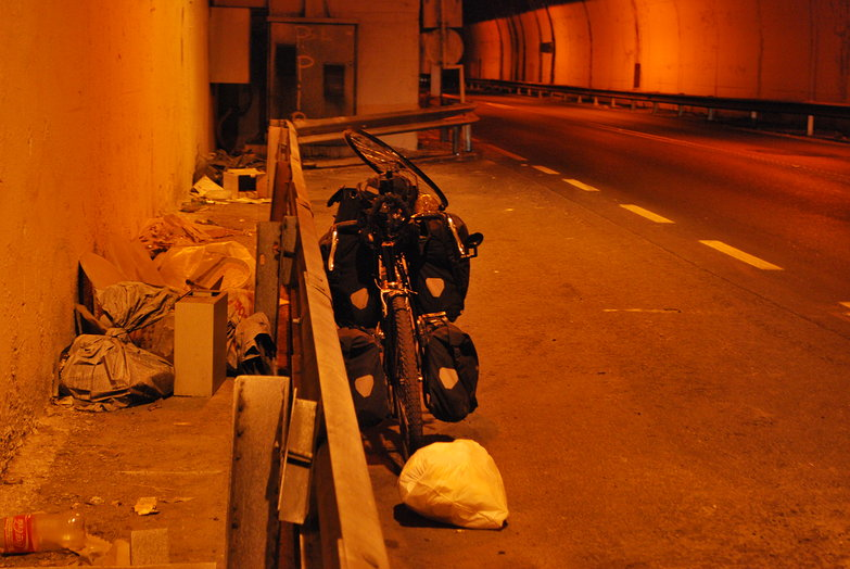 Tyler's Bike in Tunnel
