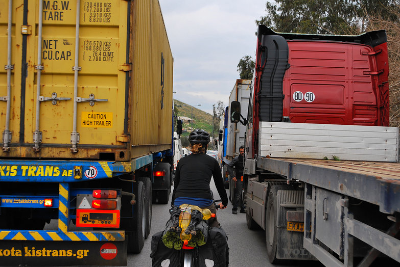 Tara Riding in Heavy Traffic