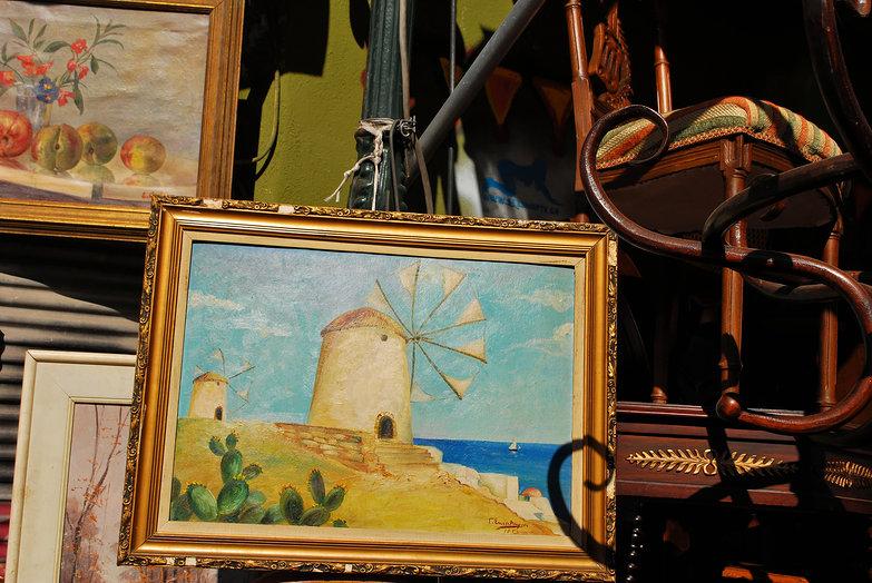 Athens Flea Market Windmill Painting