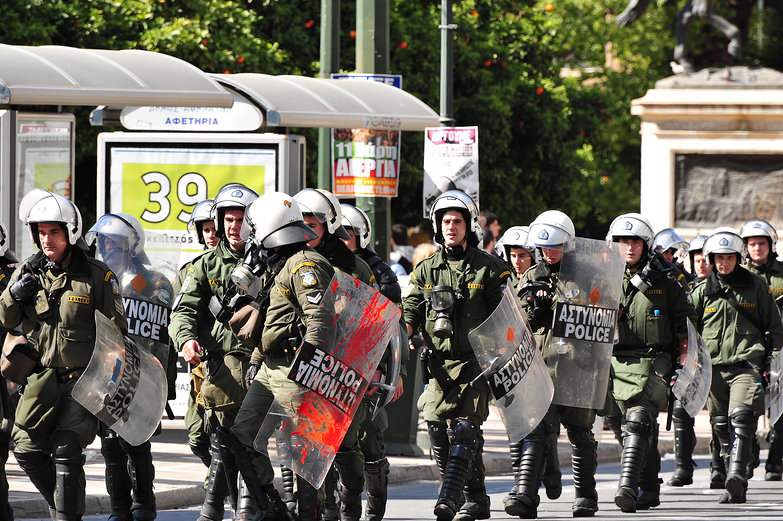 Athens General Strike Riot Police