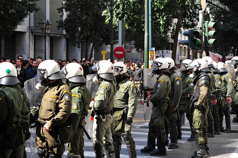 Line of Riot Police