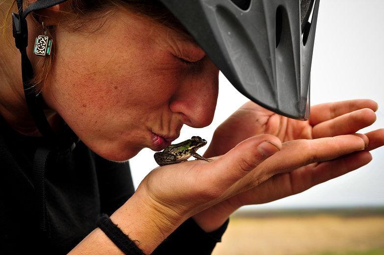 Tara Kissing a Frog