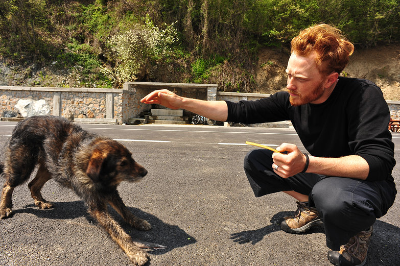 Tyler Feeding Romanian Dog
