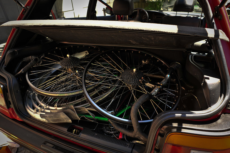 Disassembled Bikes in the Trunk