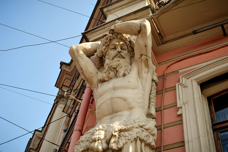 St. Petersburg Statue on Building