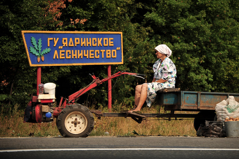 Russian Woman Selling Potatoes