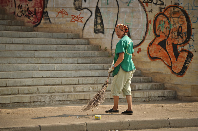 Russian Woman Sweeping