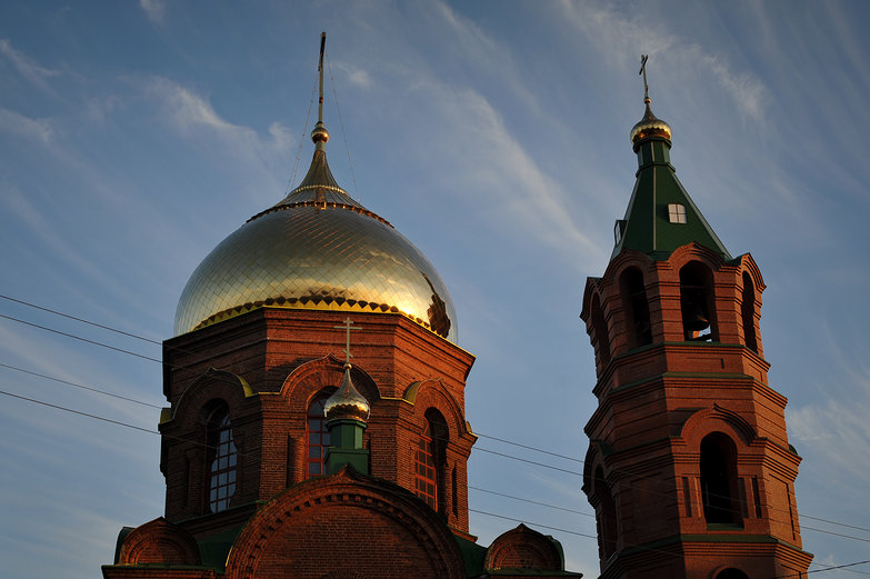 Golden Onion Dome, Russian Brick Church