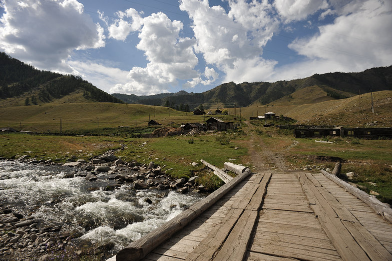 Bridge to Village in the Russian Altay