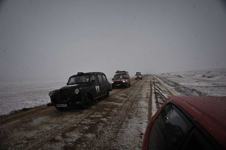 Passing Mongol Rally Cars in a Blizzard