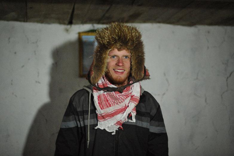 Charlie Wearing Mongolian Hat