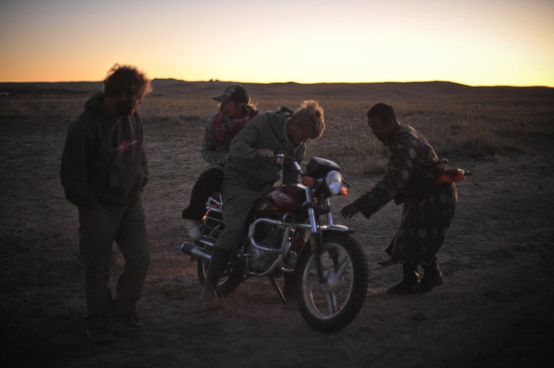 Getting Ready For a Ride on Mongolian Motorbike