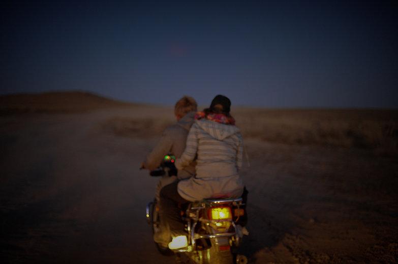 Charlie & Mette on Mongolian Motorbike