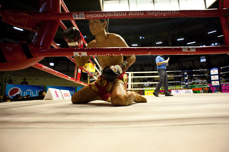Muay Thai Boxer Performing Wai Khru Ra