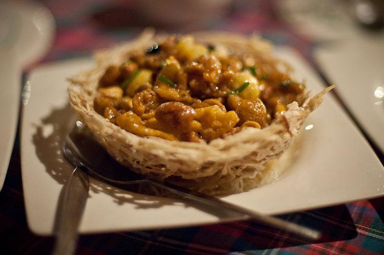 Gai Pad Metmamoung in Taro Bowl (Stir Fried Chicken w/ Cashews)