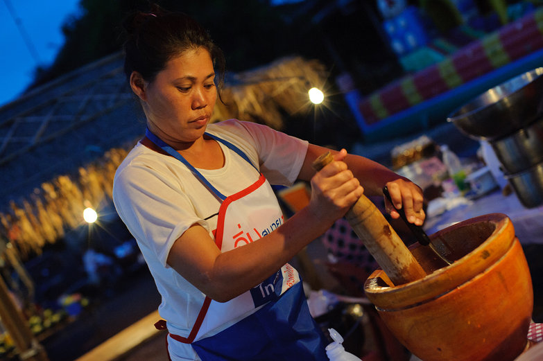Woman Making Som Tam