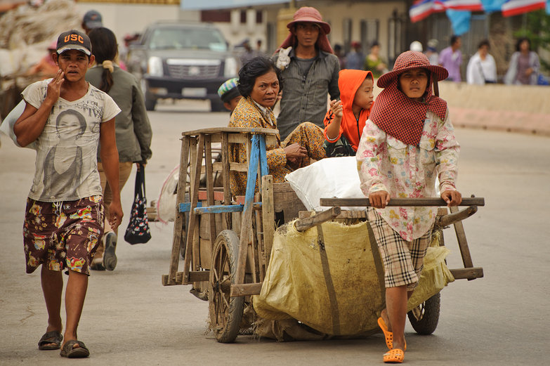 Khmer People & Pullcart