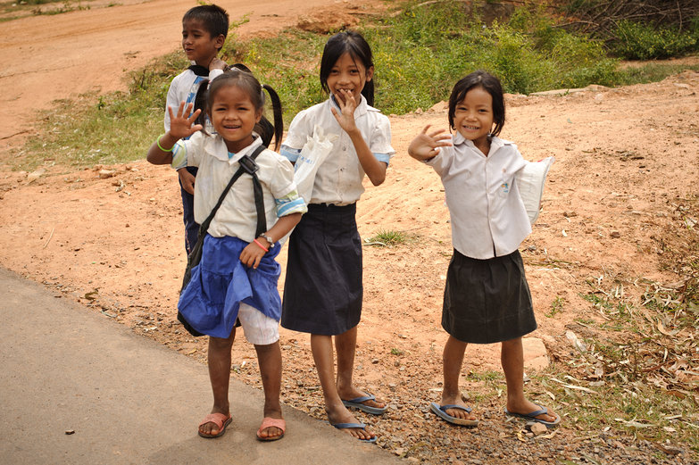 Khmer Girls Waving Hello