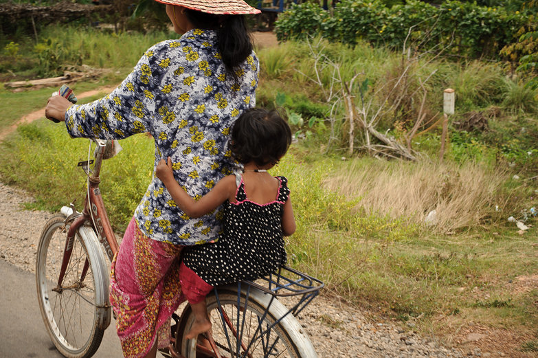 Khmer Mom & Daughter on Bike