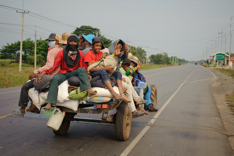 Khmer People on Koyun (Walking Tractor)