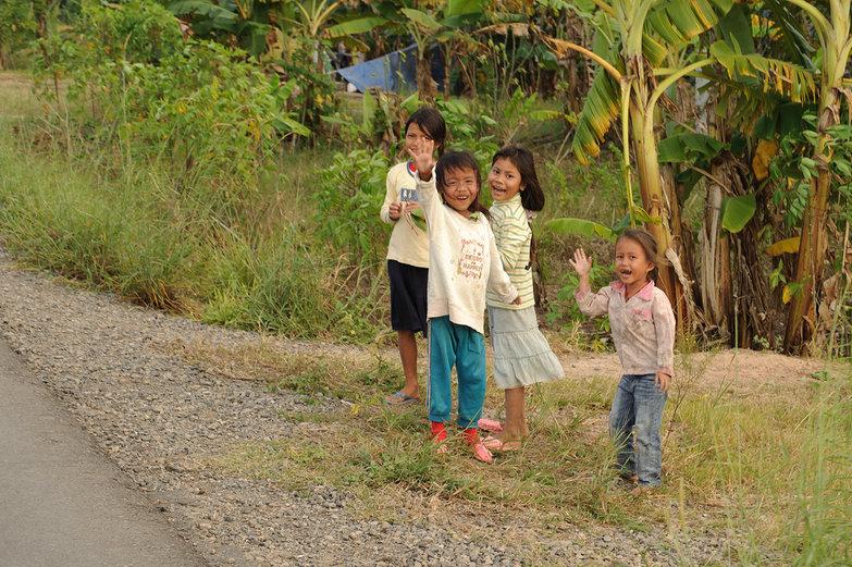 Khmer Girls Waving Hello