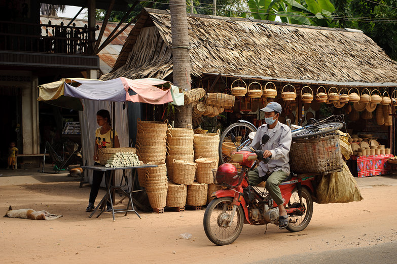 Roadside Basket Stall & Motorcyclist