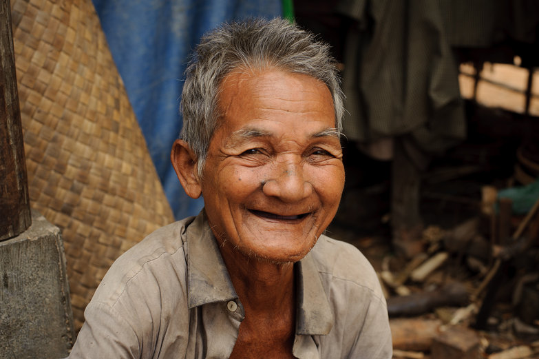 Old Cambodian Man Smiling