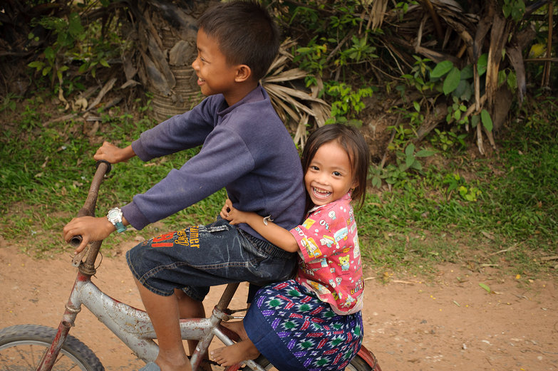 Cambodian Kids on Bicycle