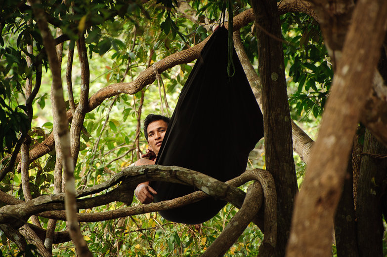 Man in Hammock Near Neak Pean Temple
