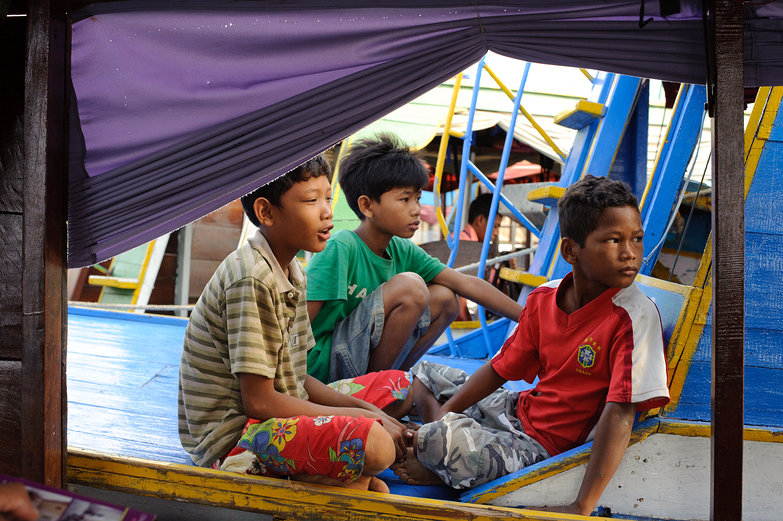 Cambodian Boys on Boat