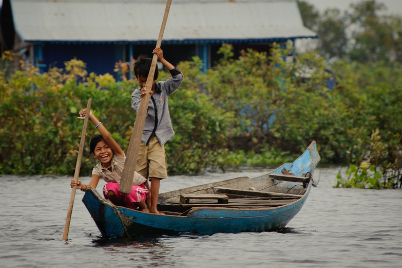 Kids Boating on Tonle Sap Lake