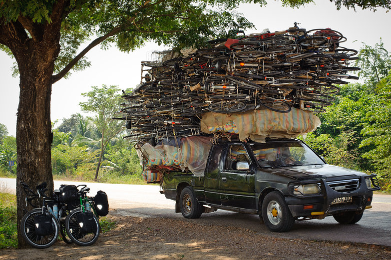 Our Bikes & Cambodian Truck of Bikes