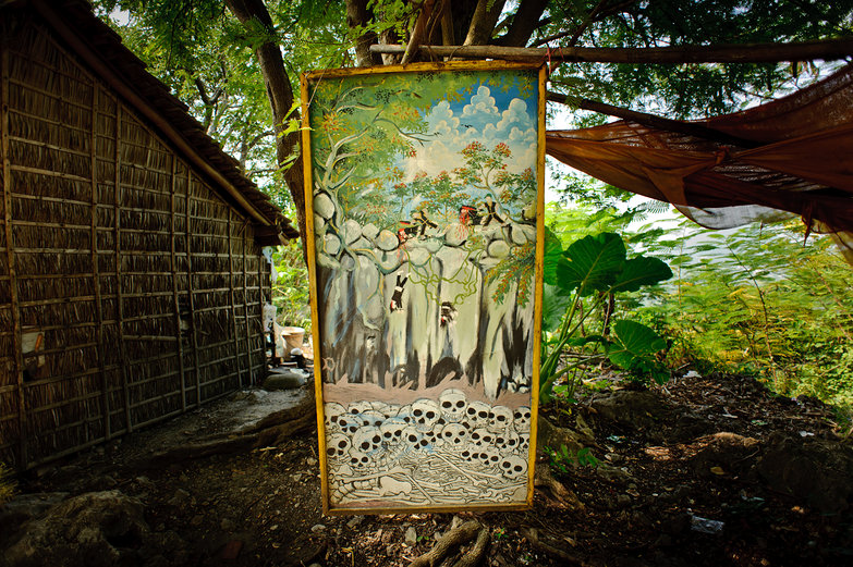 Painting of Khmer Rouge Killing Cave