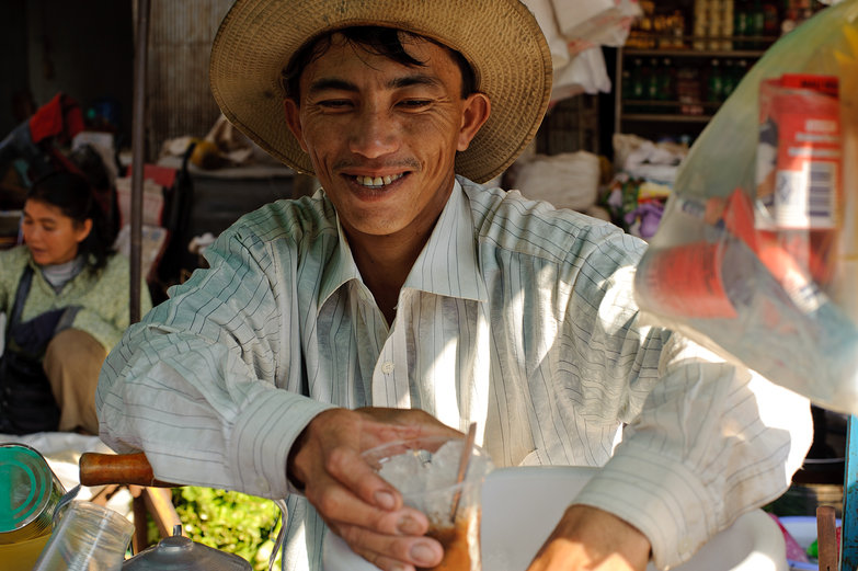 Street Seller Making Iced Coffee