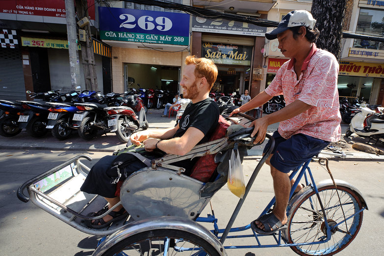 Tyler on a Cyclo in Ho Chi Minh City