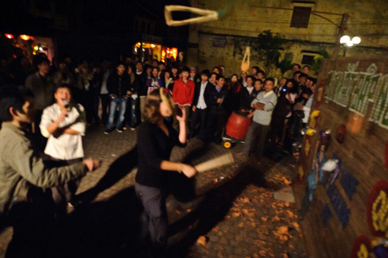 Tara Playing Hội An Lantern Festival Pottery Smashing Game