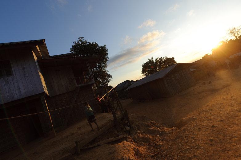 Lao Village at Sunset