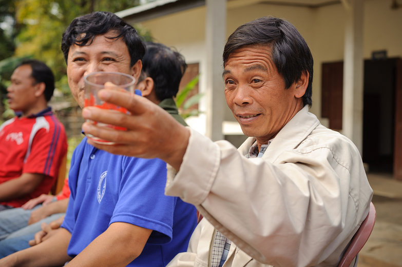 Drinking Goat's Blood Lao-Lao Alcohol