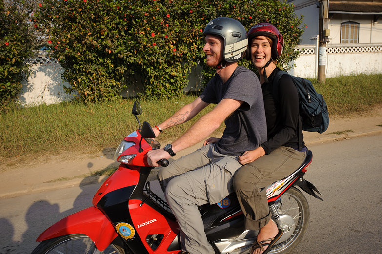 Pete & Natasha on a Motorbike