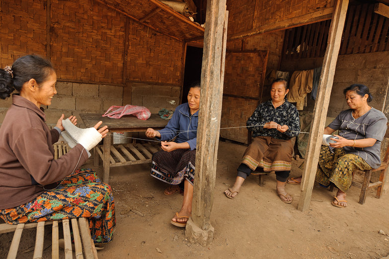 Lao Women Winding Yarn