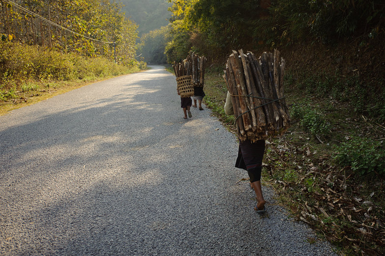Lao Girls Carrying Wood