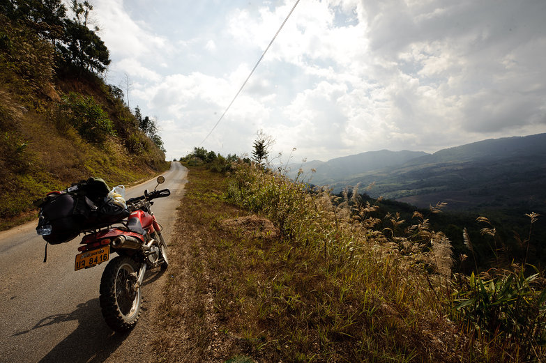 Our Motorcycle & Lao Mountain Views